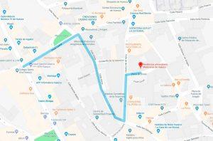 Acceso en coche a Residencia universitaria de Huesca Misioneras