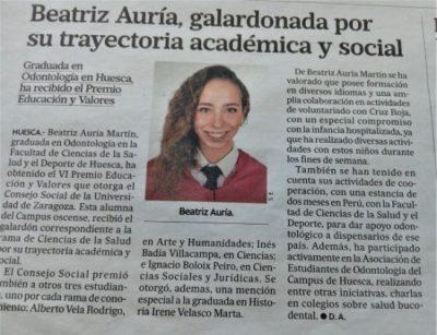 Beatriz Auría, Premio en Educación y Valores